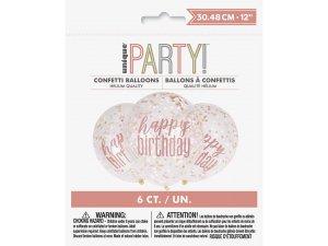 Balónek transparentní 30cm potisk Happy birthday - rosegold konfety,6ks