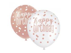 """Balónek pastel 30cm potisk """"Happy birthday"""" rosegold 6ks"""