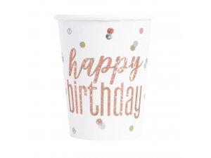 Kelímky papírové - Happy birthday - rosegold s tečkami, 8ks