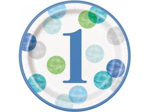 Talířky papírové - 1. narozeniny modré puntíky 23cm, 8ks