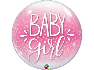 """22"""" bublina - BABY GIRL růžová a konfety"""