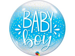 """22"""" bublina - BABY BOY modrá a konfety"""