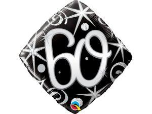 """18"""" balónek - Elegantní černé narozeniny 60"""