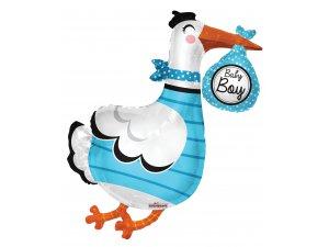 Balónek 91cm - Čáp modrý