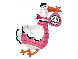 Balónek 91cm - Čáp růžový