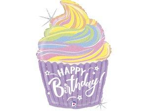 """27"""" fóliový balónek - Narozeninový pastelový cupcake"""