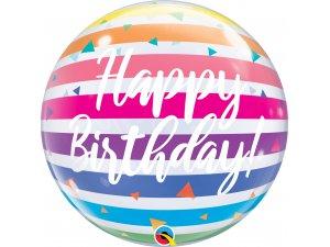 """22"""" bublina - Duhové narozeniny s pruhy"""