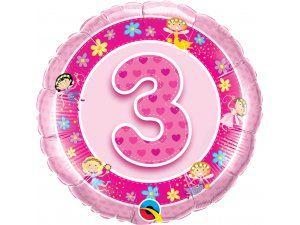 """18"""" foliový balónek kruh - Narozeninové víly 3 - růžový"""