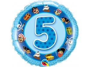"""18"""" foliový balónek kruh - Narozeninový pirát 5 - modrý"""