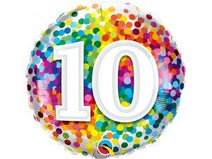 """18"""" foliový balónek kruh - barevné konfety 10"""