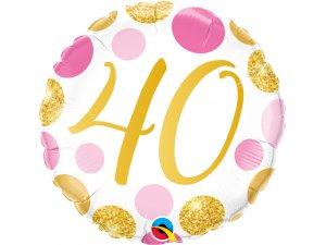 "18"" foliový balónek 40 PINK & GOLD DOTS"