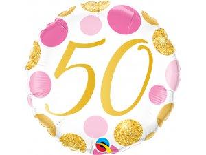 "18"" foliový balónek 50 PINK & GOLD DOTS"