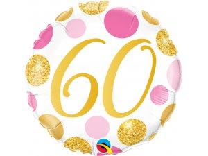 "18"" foliový balónek 60 PINK & GOLD DOTS"