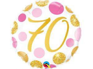 "18"" foliový balónek 70 PINK & GOLD DOTS"