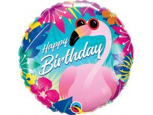 """18"""" balónek fóliový kulatý - Narozeninový plameňák"""