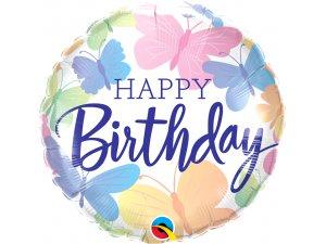 """18"""" fóliový balónek kulatý - Motýlci a narozeniny"""