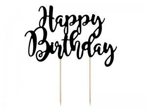 "Ozdoba na dort ""Happy birthday"" černá, 22.5cm"