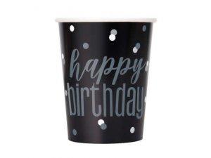 Kelímky papírové - Happy Birthday - černé se stříbrnými tečkami, 8ks