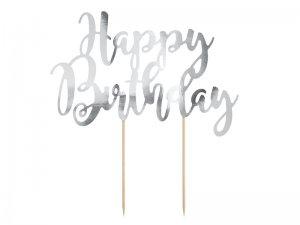 Ozdoba na dort Happy Birthday - stříbrná, 22.5cm