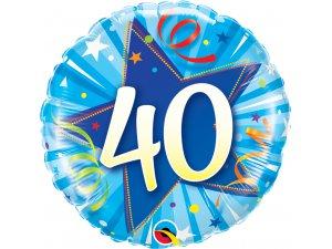 "18"" foliový balónek kruh - modré narozeniny 40"