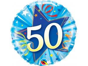 "18"" foliový balónek kruh - modré narozeniny 50"