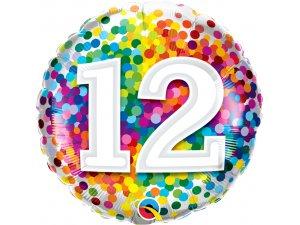 """18"""" foliový balónek kruh - barevné konfety 12"""