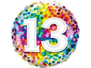 """18"""" foliový balónek kruh - barevné konfety 13"""
