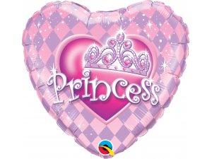 """18"""" fóliový balónek srdce - Princezna s korunkou"""