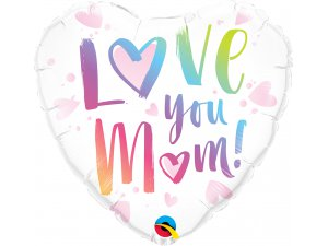"18"" fóliový balónek srdce - Love you mum"