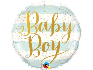 "18"" fóliový balónek kruh - Baby boy proužky"