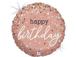 """18"""" Rosegold narozeniny a konfety - Fóliový balónek 46 cm"""
