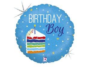 """18"""" Narozeninový kluk s dortem - Fóliový balónek 46 cm"""
