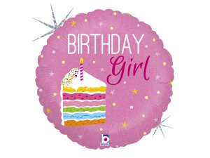 """18"""" Narozeninová holka s dortem - Fóliový balónek 46 cm"""