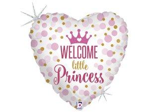 """18"""" Vítej Princezno - Fóliové srdce růžové 46 cm"""