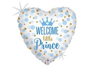 """18"""" Vítej Princi - Fóliové srdce modré 46 cm"""