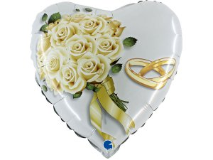 """18"""" Bílé růže - Fóliové srdce 46 cm"""
