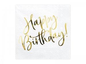 Papírové ubrousky - zlatý Happy birthday 20 ks