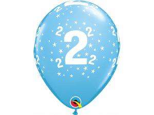 """Balónek Qualatex 11"""" potisk číslo 2 modrý (6ks v balení)"""