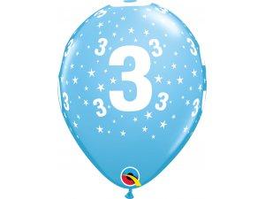 """Balónek Qualatex 11"""" potisk číslo 3 modrý (6ks v balení)"""