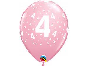 "Balónek Qualatex 11"" potisk číslo 4 růžový (6ks v balení)"