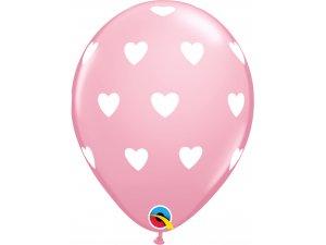 """Balónek Qualatex 11"""" potisk Velké srdce růžový (6 ks v balení)"""