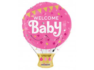 Balónek 46cm - Balón růžový - Vítej miminko