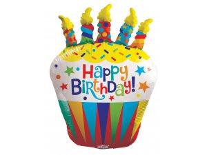 Balónek 91cm - Cupcake se svíčkami
