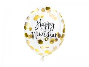 Balónek transparentní 27cm potisk Happy New Year - zlaté konfety, 3ks