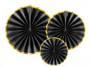 """Dekorační rozety """"Černé se zlatými okraji"""" 3ks"""