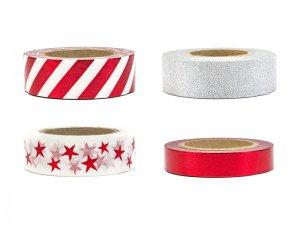 """Dekorativní lepící pásky """"Vánoční mix"""" 4ks"""