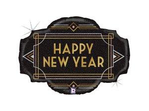 """18"""" Šťastný Nový rok! Art deco - Fóliový balónek"""