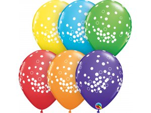 """Balónek Qualatex 11""""/28cm barevný mix konfety 50ks"""