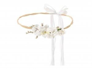 Věneček z umělých květin, bílý, 18cm