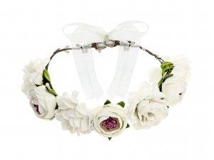 Věneček z umělých květin, bílý, 17cm